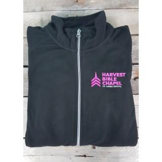 Harvest Bible Chapel Black Embroidered Full  Zip Fleece Jacket Women