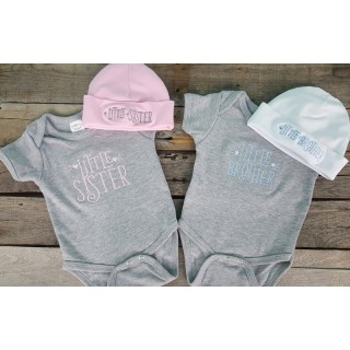 Little Sibling Baby Onesie and Hat Set