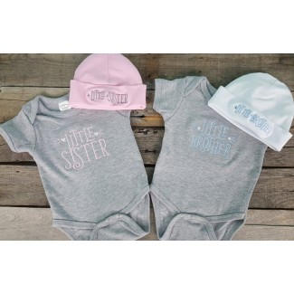 Twins Little Sibling Baby Onesie and Hat Set