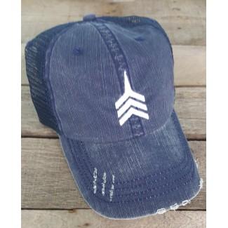 Harvest Navy Unstructured Distressed Trucker Hat