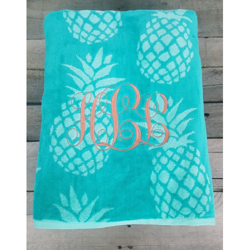Teal Pineapple Beach Towel
