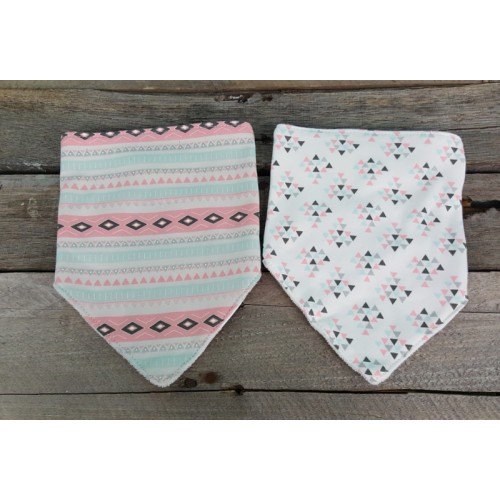 Monogrammed Baby Bandana Bibs- Pink and Aqua Tribal with Arrows
