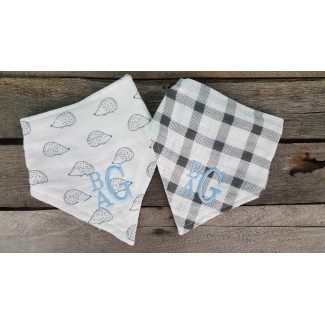 Monogrammed Baby Bandana Bibs- Gray and White Plaid and Porcupines