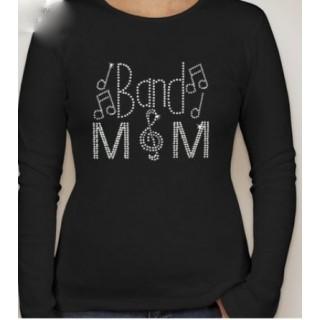 Ladies Long Sleeve Band Mom Rhinestone Shirt