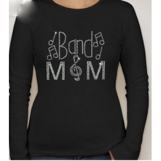 Ladies Long Sleeve Band Mom Rhinestone Shirt