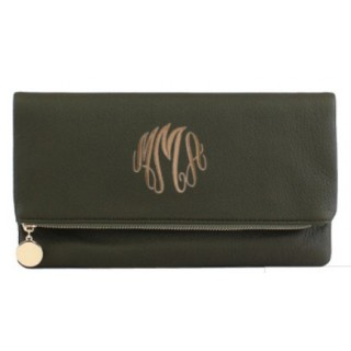 Olive Green Monogrammed Crossbody Clutch
