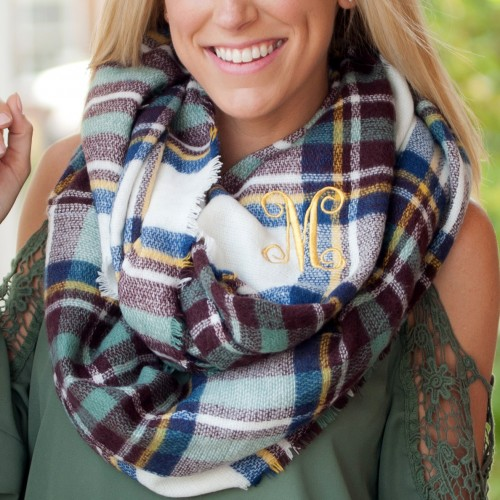 Plaid Infinity Scarf Blue and Wine