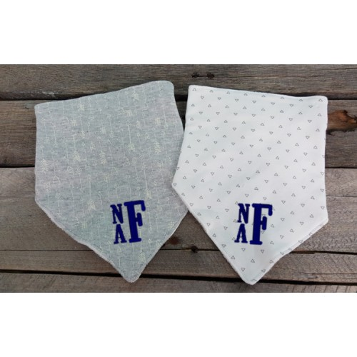 Monogrammed Baby Bandana Bibs- Gray and White Arrows