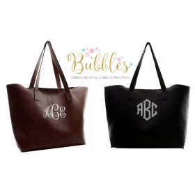 Large Monogrammed Tote Bag in Black or Brown