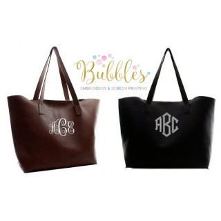 Large Monogrammed Tote Bag in Black or Brown