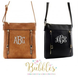 Monogrammed Zipper Messenger Bag in Black or Brown
