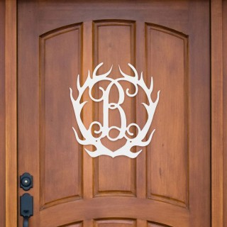 Single Initial Antlers Wood Monogram