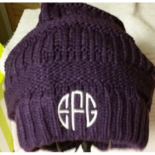Womens Monogrammed Knit Slouchy Beanie Hat