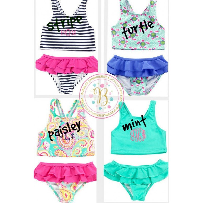 712556a855 Girls Monogrammed Swimsuit Toddler. `