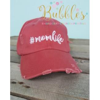 #momlife Distressed Ball Cap