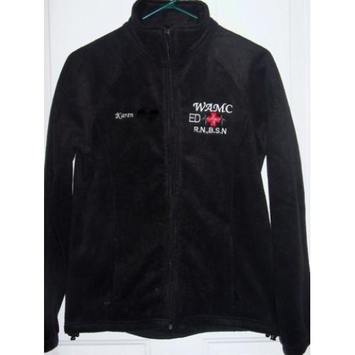 Black Embroidered Medical Fleece Jacket