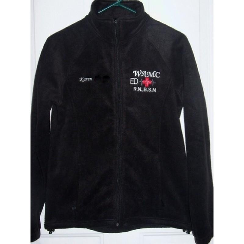 Black Embroidered Medical Fleece Jacket. `