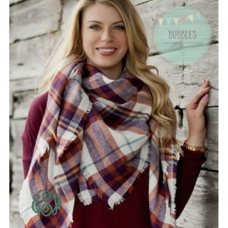 Burgundy and Aqua Plaid Scarf
