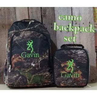 Camo w/ Deer Head or Duck Head Backpack Set