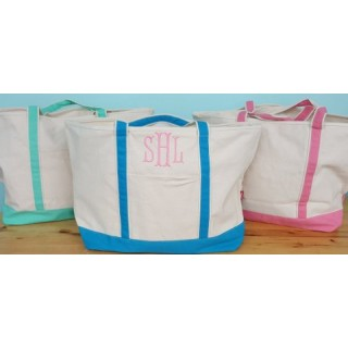 Large Monogrammed Canvas Beach Tote