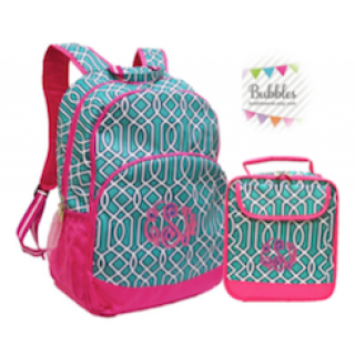 Monogrammed Twist Backpack and Lunchbox Set