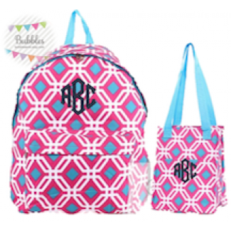Pink and Blue Geometric Backpack and Lunchbox Set