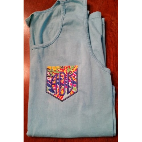 Pocket Applique with Monogram Tanktop