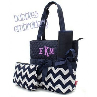 Quilted Navy Chevron Diaper Bag and Changing Pad