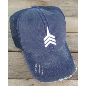 Harvest Navy Unstructured Distressed Trucker Hat