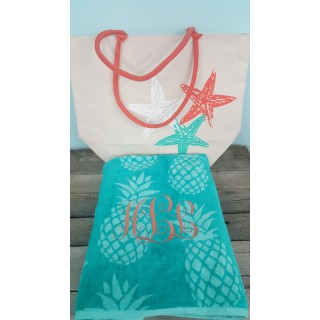 Starfish Beach Tote and Pineapple Towel Set