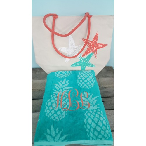 Starfish Beach Tote and Pineapple Towel Set