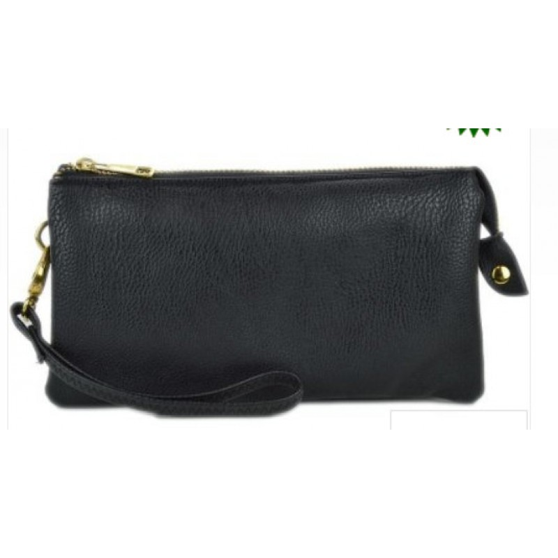 Monogrammed Crossbody Clutch In Black Or Espresso