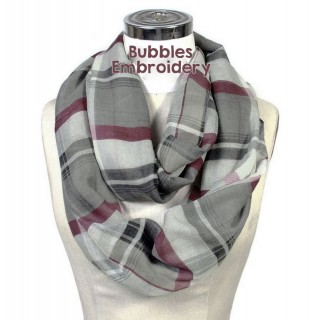 Plaid Infinity Scarf Burgundy and Gray