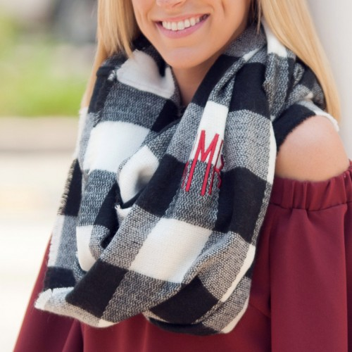 Plaid Infinity Scarf Black and White