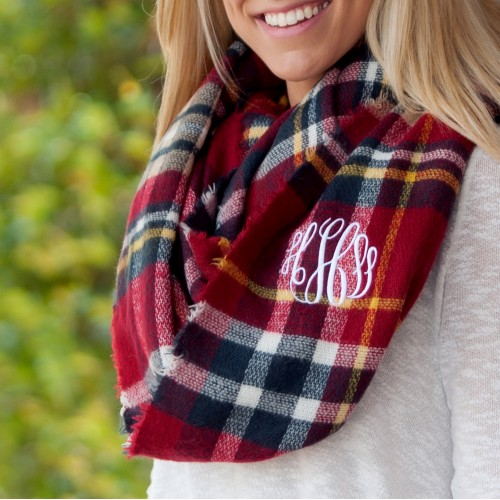 Plaid Infinity Scarf Navy and Garnet