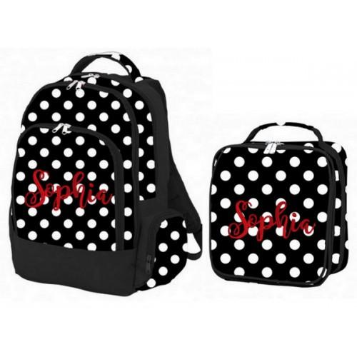 Black and White Polka Dot Backpack Set