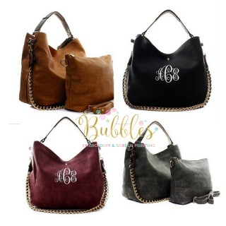 2 pc Monogrammed Large Hobo Tote Bag