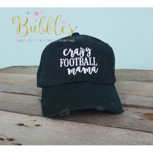 Crazy Football Mama Distressed Ball Cap