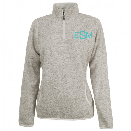 Monogrammed Charles River Heathered quarter Zip Pullover