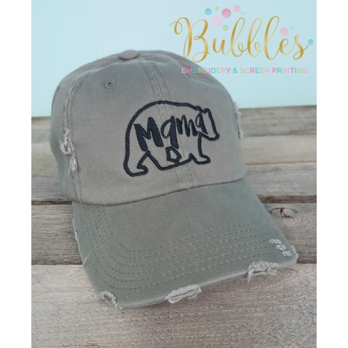 Mama Bear Distressed Ball Cap