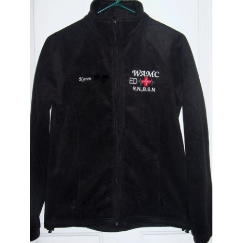 Black Embroidered Medical Fleece Jacket