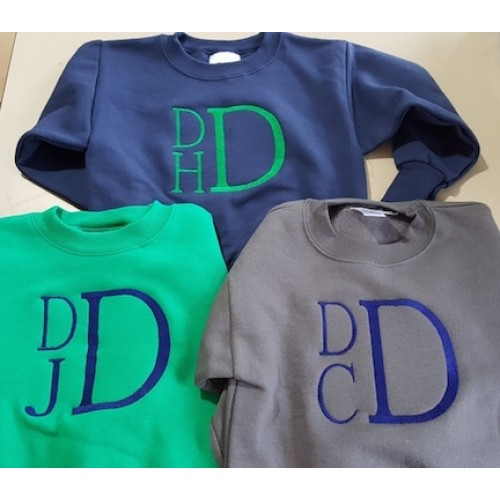 Boys Stacked Monogrammed Crewneck Sweatshirt Children