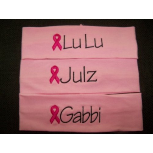 Breast Cancer Embroidered Stretch Headband