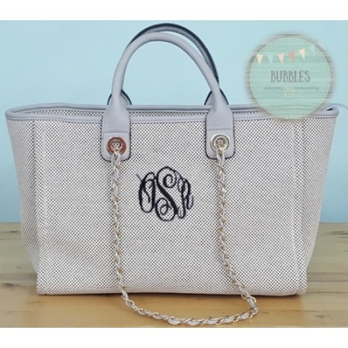 Monogrammed Gray Purse