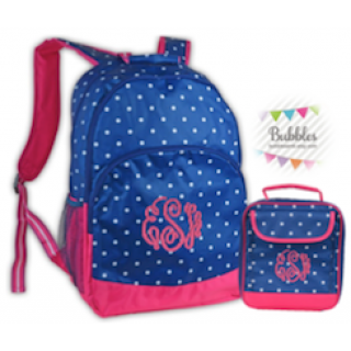 Monogrammed Polka-Dotted Backpack and Lunchbox Set