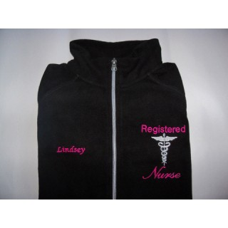 Nurse Fleece Jacket with Caduceus