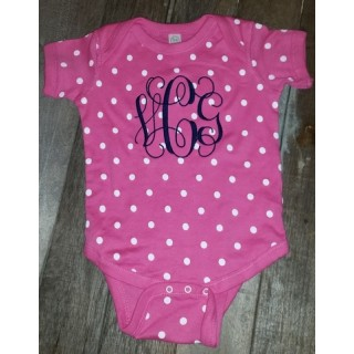 Pink and White Polka Dot Onesie