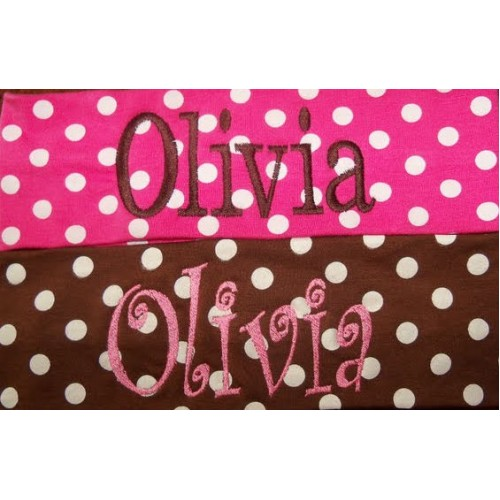 Polka Dot  Monogrammed Name Headband