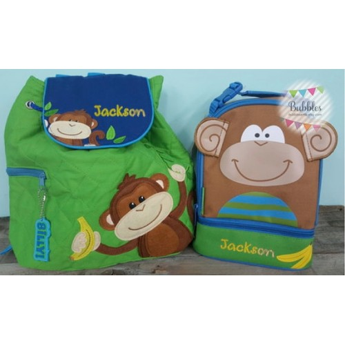 Stephen Joseph Monogrammed Quilted Monkey Preschool Backpack and Lunch Box