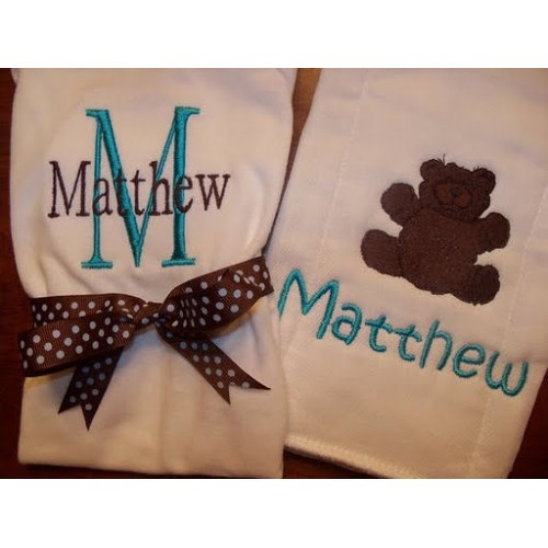 Teddy Bear Burp Cloth & Onesie Set